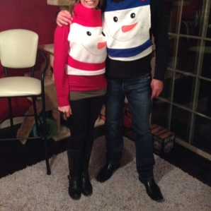 Posing at an ugly sweater party last year!